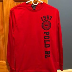 Boys long sleeve large red Polo T-shirt